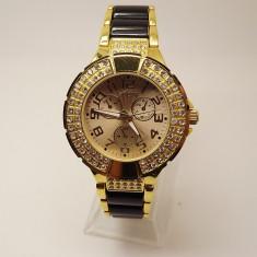 Ceas dama GUESS 1151 black-gold (Poze reale, Garantie), Otel, Inox, Analog
