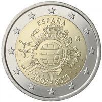 SPANIA 2 euro comemorativa 2012 TYE (10 ani euro) - UNC