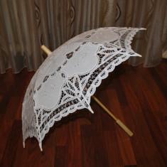 Marturii nunta Umbrela lemn bambus cu dantela Battenberg umbrele umbreluta