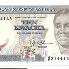 ZAMBIA 10 KWACHA 1989 AUNC - bancnota africa