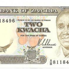 ZAMBIA 2 KWACHA 1989 AUNC - bancnota africa