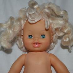 Papusa bebelus (cu trasaturi reale) bea si face pipi, CITITOY 1992, 34cm, blond