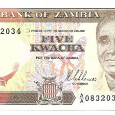 ZAMBIA 5 KWACHA 1989 AUNC - bancnota africa