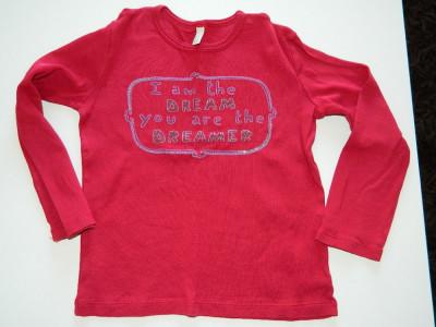 Bluza, bluzita fetite, bumbac organic, 3-5 ani, Benetton foto