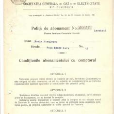 POLITA DE ABONAMENT GAZ SI ELECTRICITATE 1927 - Hartie cu Antet