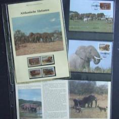 UGANDA - ELEFANTI, 4 VALORI, CARTON PREZENTARE SI 4 ILUSTRATE MAXIME - E2664