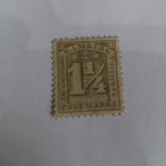 Hamburg 1866 val. de 1  1/4 S nestampilata dantelata