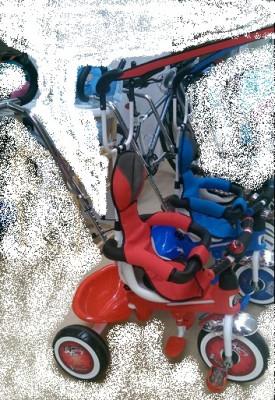 Tricicleta copii cu copertina si maner de ghidare foto