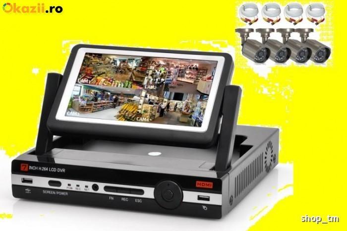 Kit sistem supraveghere cu monitor DVR 4 camere exterior /int. internet,3g