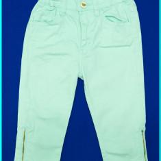 DE FIRMA _ Pantaloni 3/4, bumbac, talie reglabilă, H&M _ fetite | 4 - 5 ani, Marime: Alta, Culoare: Aqua, Fete