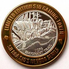 JETON ARGINT .999 Sierra Sid s Nevada Emigrant Trail $10 Token editie limitata - Jetoane numismatica, An: 2003