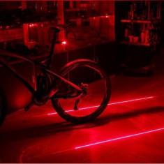 Stop bicicleta cu 5 leduri si 2 lasere rosii - Accesoriu Bicicleta, Faruri si semnalizatoare