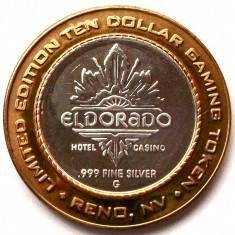 JETON ARGINT .999 El Dorado Hotel Casino Reno Nevada $10 Token editie limitata - Jetoane numismatica, An: 1999