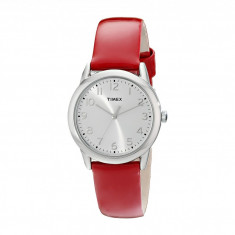 Ceas femei Timex Dress Silver/White Dial/Red Patent Leather Strap Watch | 100% original, import SUA, 10 zile lucratoare - Ceas dama
