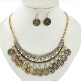 Set  bijuterii -Vintage- placat cu aur 18 k , model Egipt + SACULET