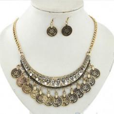 Set bijuterii -Vintage- placat cu aur 18 k, model Egipt + SACULET - Set bijuterii placate cu aur Energie