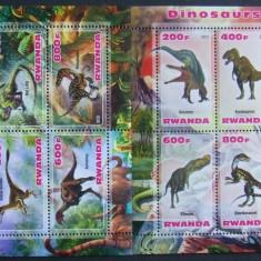 RWANDA 2013 - DINOZAURI, 2 M/SH NEOBLITERATE, POSTA PRIVATA - PP 335