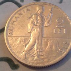2 LEI 1914 ARGINT /2 SUPERB DE COLECTIE - Moneda Romania