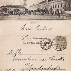 Oradea - Piata -clasica, animata - Carte Postala Crisana pana la 1904, Circulata, Printata