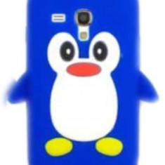 Husa silicon model pinguin albastru Samsung Galaxy S3 Mini i8190 + folie