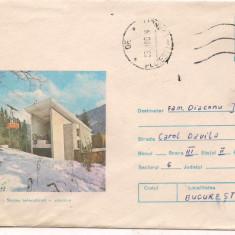 % plic--(intreg postal)-SINAIA- STATIA TELECABINA plecare-cod 0023/79