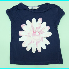 DE FIRMA _ Tricou din bumbac, FRUMOS, marca H&M _ fetite | 18 - 24 luni, Marime: Alta, Culoare: Bleumarin, Fete