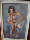 Intimitate, tablou vechi  in ulei pe panza/carton