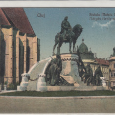 CLUJ, STATUIA LUI MATEI CORVIN - Carte Postala Transilvania dupa 1918, Necirculata, Printata, Cluj Napoca