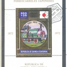 GUINEEA ECUATORIALA LOCOMOTIVE colita stampilata1972 - Timbre straine, Transporturi