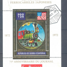 GUINEEA ECUATORIALA LOCOMOTIVE colita stampilata1972 (2) - Timbre straine, Transporturi