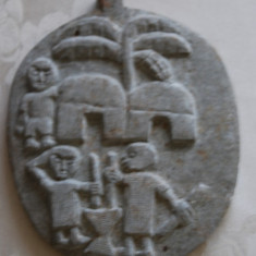 Frumoasa piatra sculptata manual cu motive africane - Arta din Africa