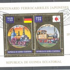 GUINEEA ECUATORIALA LOCOMOTIVE colita stampilata1975 (3) - Timbre straine, An: 1972, Transporturi
