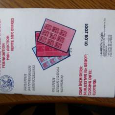 RFL carte filatelie 2001 carte filatelie Catalog Licitatie firma L Aldea Brasov