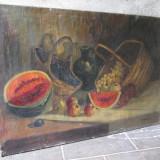 Natura statica, fructe, Pictura veche in ulei pe panza dimensiuni mari - Pictor roman, Realism