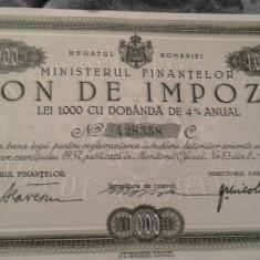 BON DE IMPOZIT 1000 LEI 1933 PERFECT UNC - Cambie si Cec