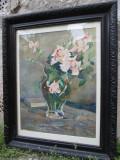 Doczy Berde Amalia, Natura statica Vaza cu trandafiri, pictor clujean, Baia Mare, Flori, Acuarela, Impresionism