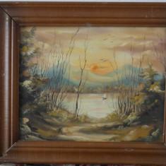 Tablou ulei pe panza-Peisaj de seara-nesemnat - Tablou autor neidentificat