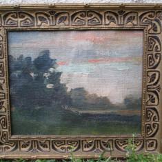 Pictura veche , ulei pe panza , tablou vechi peisaj, posibil Baia Mare, Peisaje, Art Nouveau