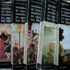 MEDITERANA SI LUMEA MEDITERANEANA IN EPOCA LUI FILIP AL II LEA - FERNAND BRAUDEL -BUC. 1985 VOL.I-VI - Istorie