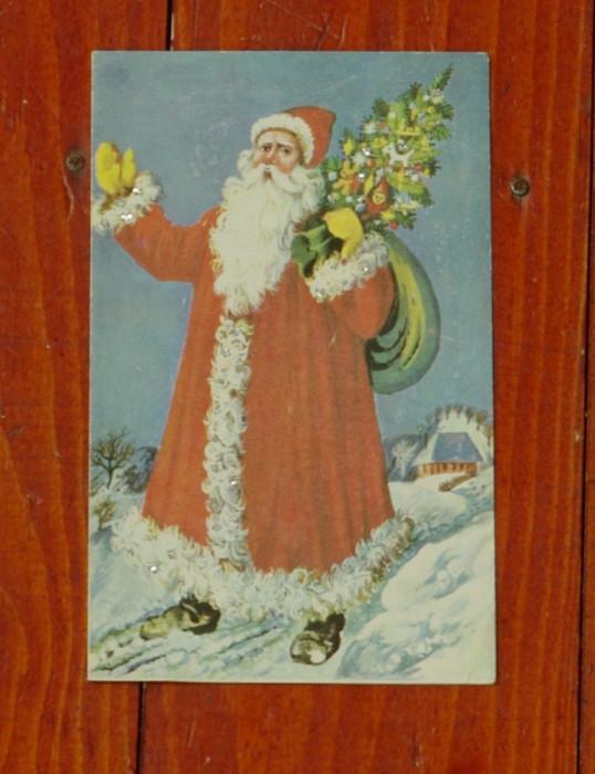 Felicitare de iarna - mos craciun - perioada comunista - folosita !!