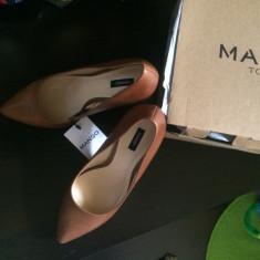 Pantofi piele Mango, colectia actuala, cu eticheta, mar. 38 - Pantof dama Mango, Culoare: Maro, Piele naturala