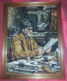 "Tablou goblen ""Der Professor"" deosebit, lucrat manual, ingrijit + rama lemn"