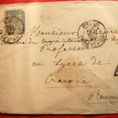 Plic Melun- Craiova 1895, Stamp.OR in cerc, T in triunghi, 2 timbre 10 bani Taxe