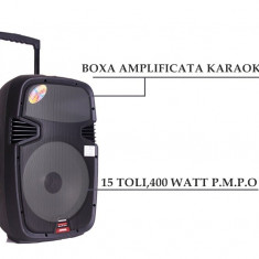 BOXA PROFESIONALA AMPLIFICATA, MIXER, MP3 PLAYER, STICK USB, MICROFON WIRELESS, 400W. - Echipament karaoke