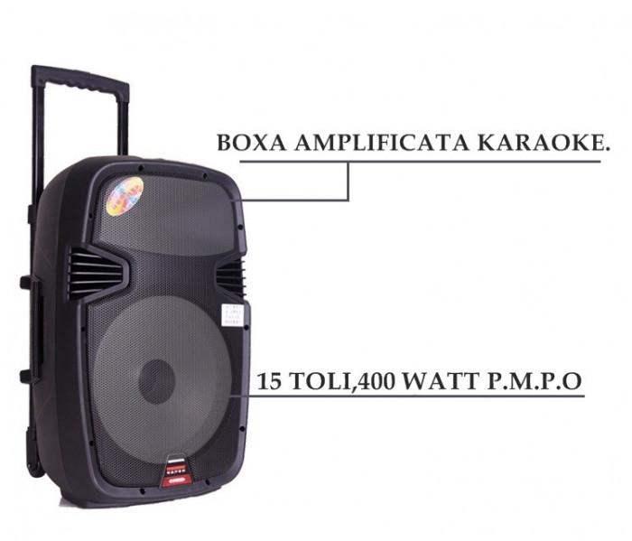 BOXA PROFESIONALA AMPLIFICATA,MIXER,MP3 PLAYER,STICK USB,MICROFON,400W.