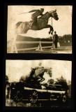 1931-1932 Lot 2 fotografii Felix Topescu concurs hipic, campion echitatie hipism, Sport, Romania 1900 - 1950