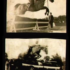 1931-1932 Lot 2 fotografii Felix Topescu concurs hipic, campion echitatie hipism - Fotografie, Sport, Romania 1900 - 1950
