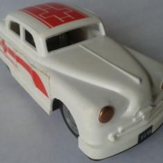 Jucarie veche, masinuta Salvare de tabla, plastic E Flim Lemez Foreign, Ungaria - Jucarie de colectie