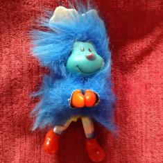 Jucarie din plastic si material textil, cu clema, animalut albastru, 12cm, - Miniatura Figurina