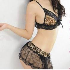 Lenjerie leopard cu fustita dantela - Lenjerie sexy femei